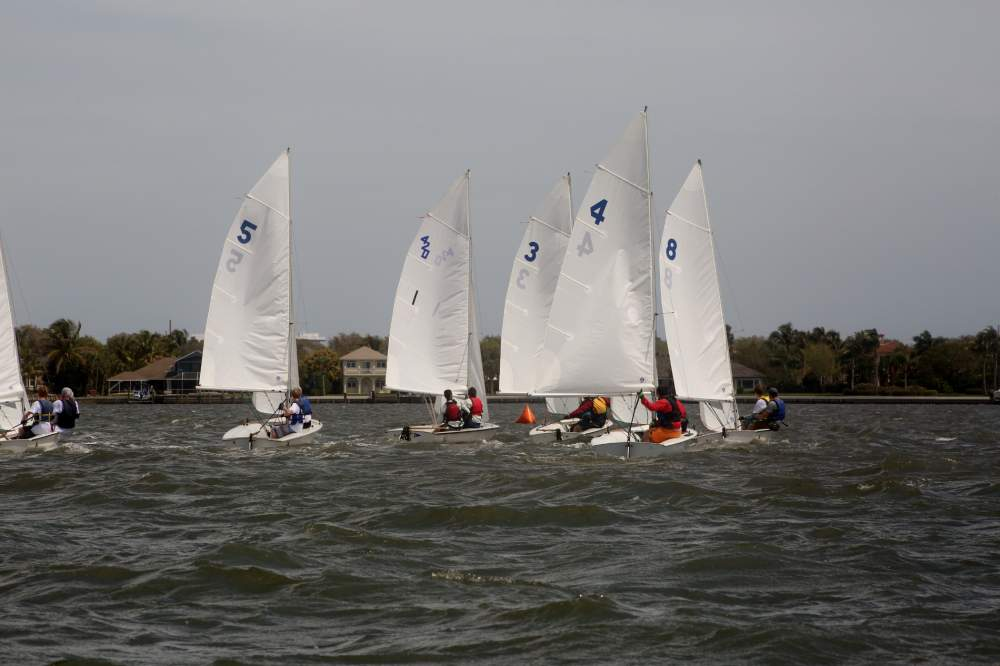 A multitude of boats hitting the water