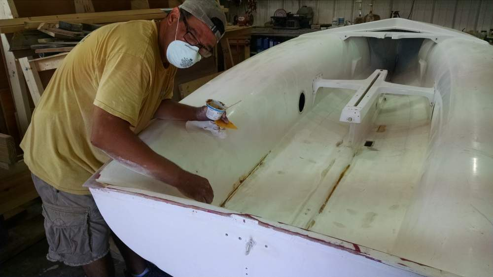 Man working in boat