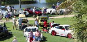 Patrons browse the car show